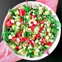Watermelon, Feta, Avocado, and Jalapeño Salad with White Balsamic-Lime Vinaigrette