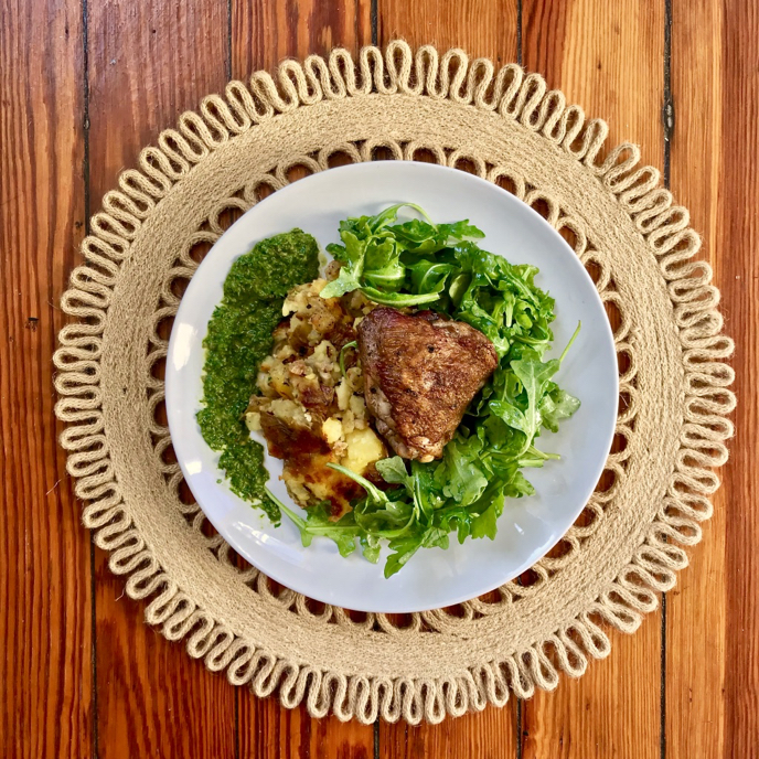 Crispy Chicken and Potatoes with Preserved Lemon Compound Butter and Salsa Verde #superfooddaily