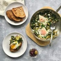Spanakopita Breakfast Skillet with Swiss Chard and Leeks