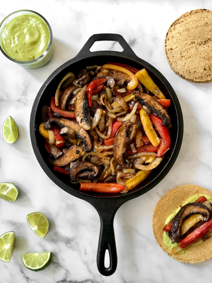 Portobello Fajitas with Habanero Avocado Crema