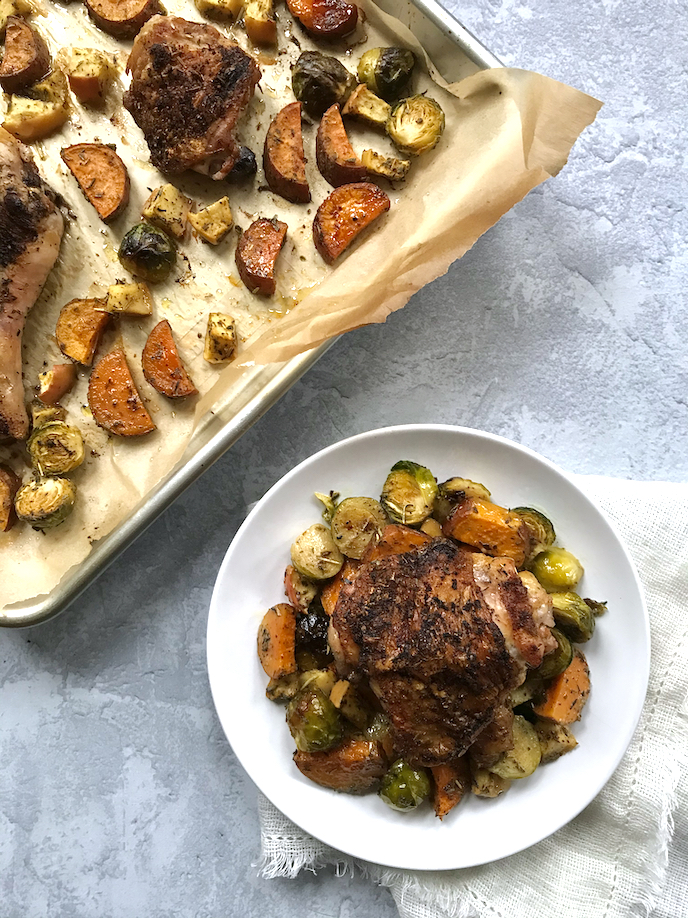 Herbes de Provence and Brown Mustard Sheet Pan Chicken with Sweet Potato, Brussels Sprouts, and Apple