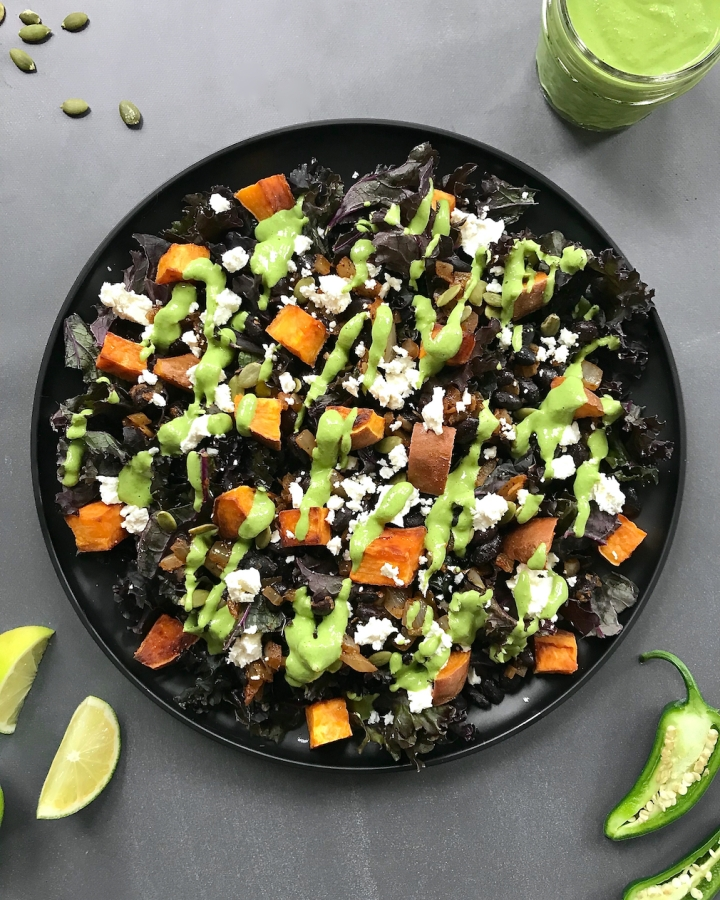 Chipotle Black Bean, Sweet Potato, and Kale Salad with Cilantro Pepita Sauce