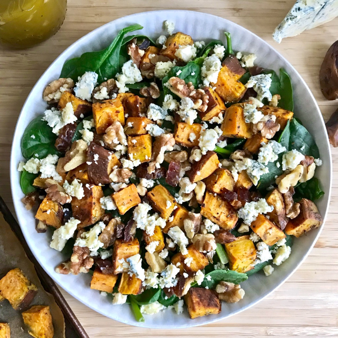 Spinach Salad with Roasted Sweet Potatoes, Dates, Walnuts, Blue Cheese, and Shallot-SherryVinaigrette
