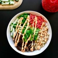 Mushroom Bahn Mi Bowls with Vegan Sriracha Mayo