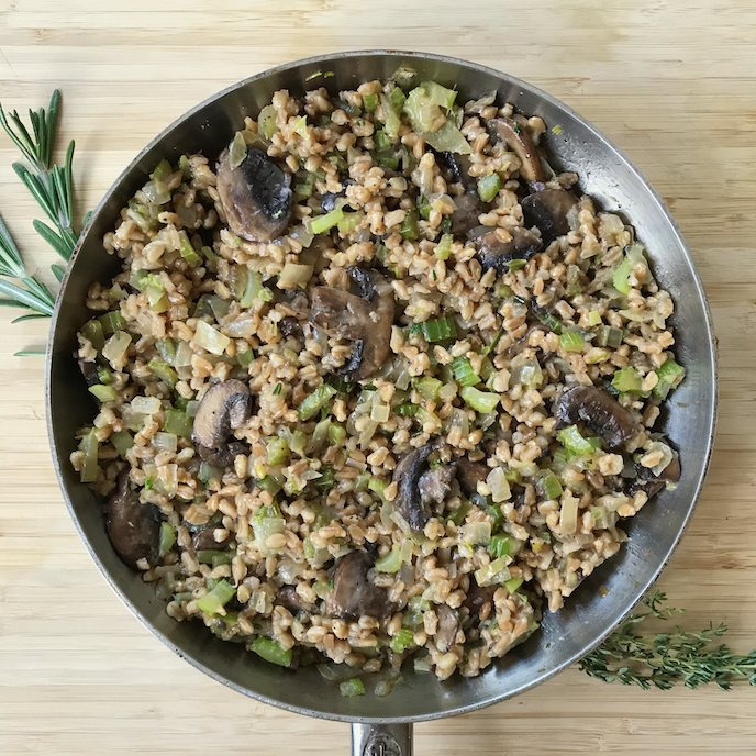 Savory Farro with Celery and Mushrooms