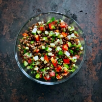 Lentil, Cucumber, and Bell Pepper Salad
