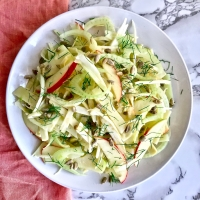 Celery Root, Fennel, and Apple Salad with Manchego and Sunflower Seeds