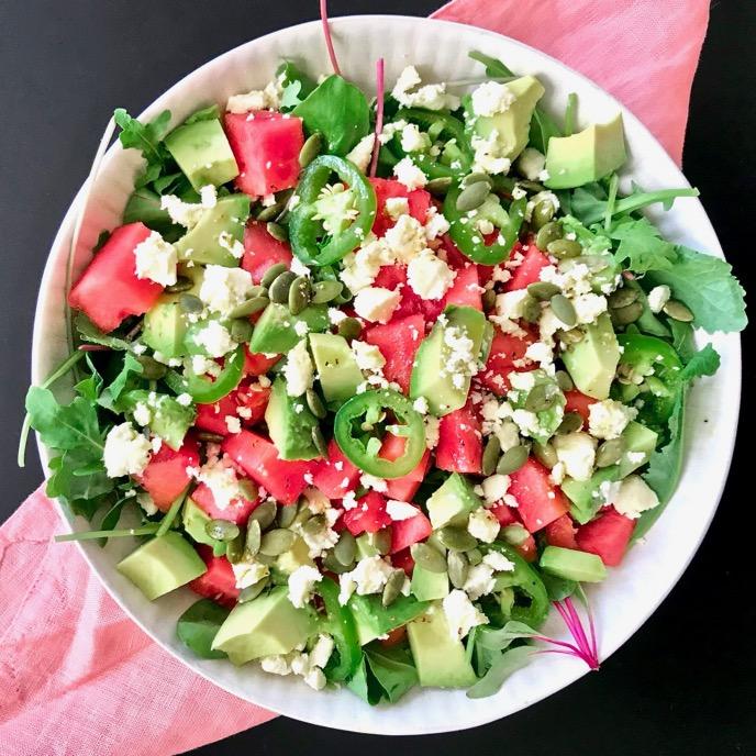 Watermelon, Feta, Avocado, and Jalapeño Salad with White Balsamic-LimeVinaigrette