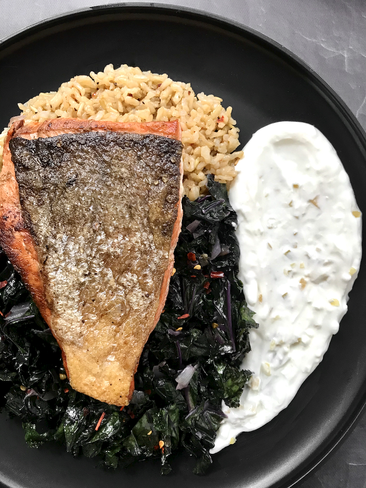 Crispy Salmon with Garlicky Preserved Lemon Yogurt