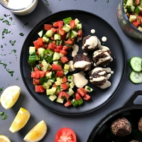 Hidden Liver Kofta with Tahini Sauce and Sumac Tomato-Cucumber Salad