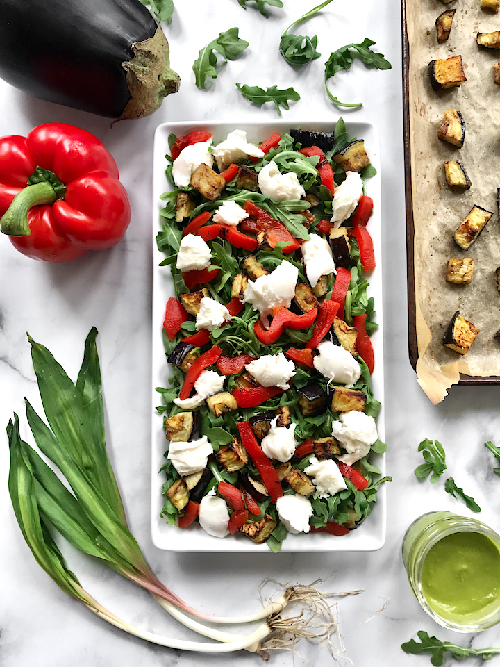 Roasted Eggplant and Bell Pepper Arugula Salad with Ramp Vinaigrette
