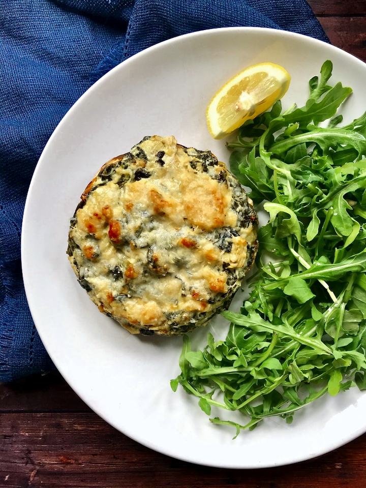 Goat Cheese Spinach and Artichoke Stuffed Portobello Mushrooms