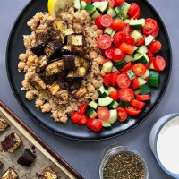 Za'atar Roasted Eggplant over Quinoa and Chickpeas