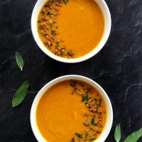 Kabocha Squash Soup with Browned Butter, Sage, and Pancetta