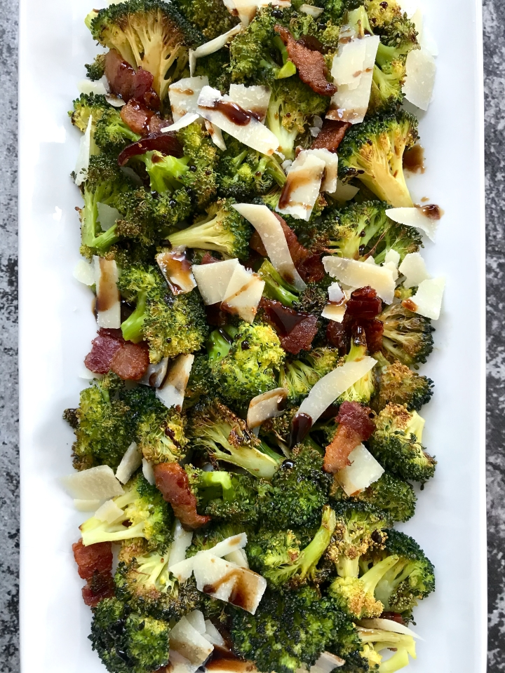Roasted Broccoli with Bacon, Parmesan, and Balsamic Glaze
